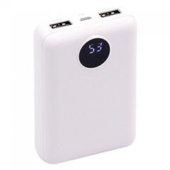 Power Bank külső akkumulátor Digitális kijelző (2xUSB) fehér - 10000 mAh