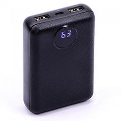 PowerBank külső akkumulátor Digitális kijelző (2xUSB) fekete - 10000 mAh