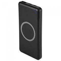 PowerBank külső akku vezeték nélkül töltés Slim (2xUSB) fekete - 10000 mAh