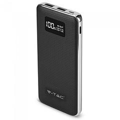 Power Bank külső akkumulátor Leather Chrome (2xUSB) fekete - 10000 mAh