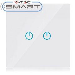 Glass Touch - Smart fali érintőkapcsoló (dupla) - Wi-Fi vezérlés mobillal, fehér