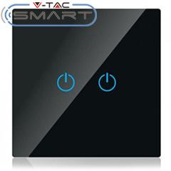 Glass Touch - Smart fali érintőkapcsoló (dupla) - Wi-Fi vezérlés mobillal, fekete