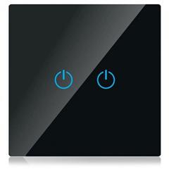 Glass Panel - Fali dupla érintőkapcsoló (5-500 Watt) fekete