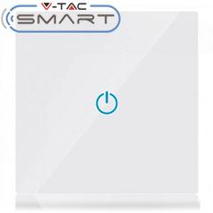 Glass Touch - Smart fali érintőkapcsoló (szimpla) - Wi-Fi vezérlés mobillal, fehér