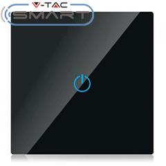 Glass Touch - Smart fali érintőkapcsoló (szimpla) - Wi-Fi vezérlés mobillal, fekete