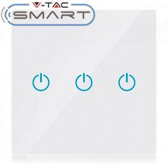 Glass Touch - Smart fali érintőkapcsoló (tripla) - WiFi vezérlés mobillal, fehér
