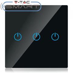 Glass Touch - Smart fali érintőkapcsoló (tripla) - WiFi vezérlés mobillal, fekete