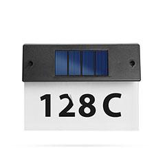 Napelemes házszám megvilágító, 5 ledes, matricákkal (22x16.5x5 cm) fekete