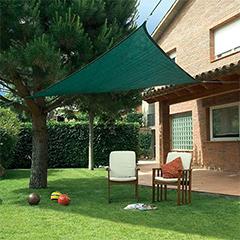 SUNNET KIT háromszög alakú, szőtt napvitorla (árnyékoló) zöld - 3 x 3 x 3 m