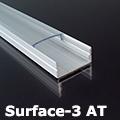 Surface-3 Alumínium U profil ezüst, LED szalaghoz, átlátszó burával