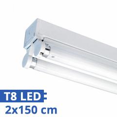 T8 szabadonsugárzó lámpatest 2 db 150 cm-es LED fénycsőhöz