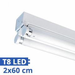 T8 szabadonsugárzó lámpatest 2 db 60 cm-es LED fénycsőhöz