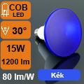 LED lámpa E27 (COB LED/15Watt/30°) PAR 38 - kék IP65