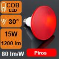 LED lámpa E27 (COB LED/15Watt/30°) PAR 38 - piros IP65