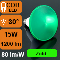 LED lámpa E27 (COB LED/15Watt/30°) PAR 38 - zöld IP65