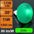 LED lámpa E27 (COB LED/15Watt/30°) PAR 38 - zöld IP65