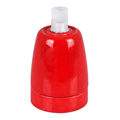 Színes E27-es porcelán foglalat - piros