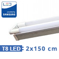 T8 szabadonsugárzó lámpatest + 2 db 150 cm-es Samsung LED fénycső (2x22W-6400K)