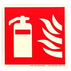 Tűzoltó készülék helyét jelző vinil matrica, utánvilágító