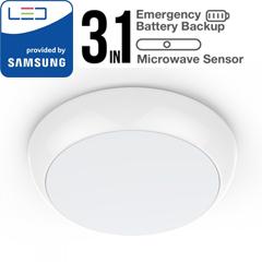 Oldalfali-Mennyezeti UFO lámpa PRO (4000K -  IP65) vészvilágítás funkcióval és mikrohullámú mozgásérzékelővel - Samsung