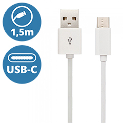 Standard USB - USB-C adatkábel, töltőkábel (1.5 méter) fehér - USB 2.0