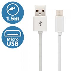 Standard USB - Micro USB adatkábel, töltőkábel (1.5 méter) fehér - USB 2.0