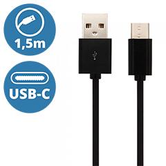 Standard USB - USB-C adatkábel, töltőkábel (1.5 méter) fekete - USB 2.0