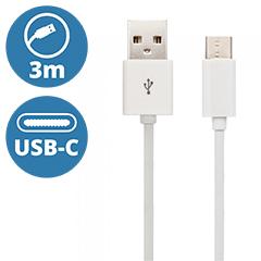 Standard USB - USB-C adatkábel, töltőkábel (3 méter) fehér - USB 2.0