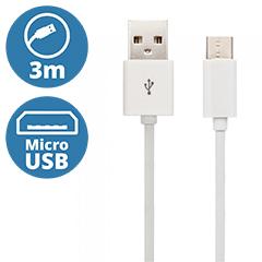 Standard USB - Micro USB adatkábel, töltőkábel (3 méter) fehér - USB 2.0