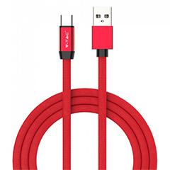 Ruby USB - USB-C pamut-szövetkábel (1 méter) piros - USB 2.0