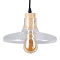 Üvegburás lámpatest fa betéttel (E27) - lapos