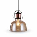 Üveg+fém vintage lámpatest (E27) - borostyán színű bura