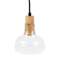Üvegburás lámpatest fa betéttel (E27) - magas