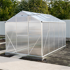 - Melegház, üvegház, 4 mm-es polikarbonát borítással, alu vázas (5.98 m2)