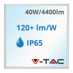 LED panel (595 x 595mm) 40W - hideg fehér, 110Lm/W - IP65!