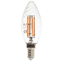 E14 LED izzó Retro filament (4W/300°) Csavart gyertya - meleg fehér