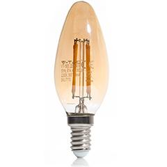 E14 LED izzó Vintage filament (4W/300°) Gyertya - extra meleg fehér