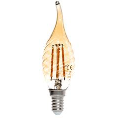 E14 LED izzó Vintage filament (4W/300°) Csavart gyertya láng - extra meleg f.