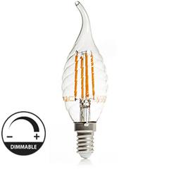 E14 LED izzó Retro filament (4W/300°) Csavart gyertya láng - meleg f., dimmel.