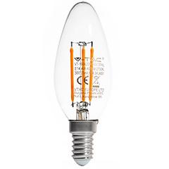 E14 LED izzó Retro filament (4W/300°) Gyertya - hideg fehér