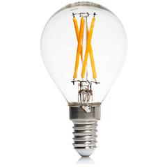 E14 LED izzó Retro filament (4W/300°) Kisgömb - meleg fehér (Cross)