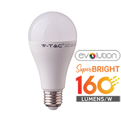 E27 LED lámpa (15W/200°) Körte A65 - evolution series, 160lm/Watt - hideg fehér