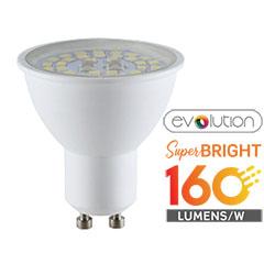 LED lámpa GU10 (5W/110°) - evolution series, 160lm/Watt - hideg fehér