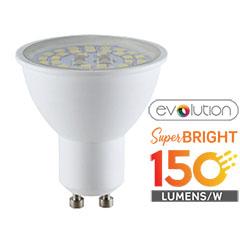 LED lámpa GU10 (5W/110°) - evolution series, 150lm/Watt - meleg fehér