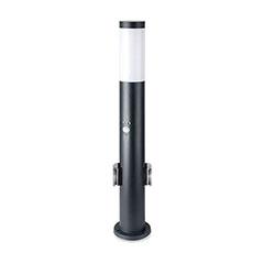 Fekete kültéri álló lámpa, 2db konnektorral (E27) rozsdamentes acél, mozg. érz., 60 cm