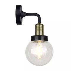 Kültéri oldalfali gömb alakú lámpatest IP65 (E27) fekete-bronz