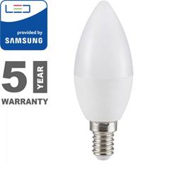 E14 LED lámpa (7W/200°) Gyertya - hideg fehér, PRO Samsung