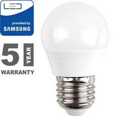 E27 LED lámpa (5.5W/180°) Kisgömb - hideg fehér, PRO Samsung