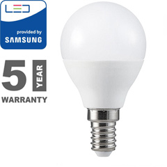 E14 LED lámpa (4.5W/180°) Kisgömb - hideg fehér, PRO Samsung Kifutó!