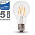 E27 LED izzó Retro filament (6W/300°) Körte - meleg fehér, PRO Samsung